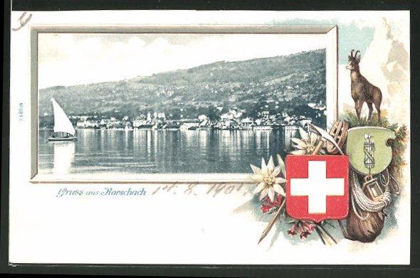 Passepartout-Lithographie Rorschach, Gesamtansicht, Wappen