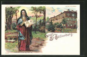 Lithographie St. Odilienberg, Wallfahrtskirche, Standbild der hl. Odilia, Halt gegen das Licht: Odilia mit Heiligenschei