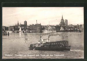 AK Stralsund, Überfahrt von Stralsund nach Rügen mit dem Trajektschiff