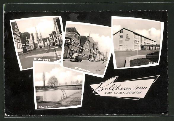 Schwimmbad Bellheim ak bellheim blick in das schwimmbad schule ansicht verschiedener