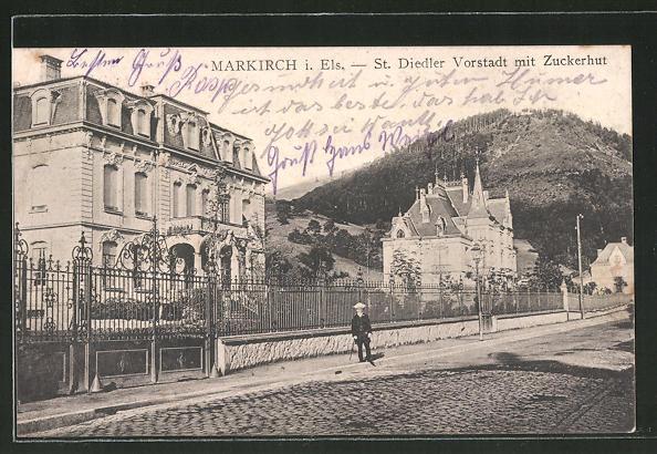 AK Markirch, St. Diedler Vorstadt mit Zuckerhut