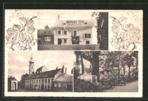 AK Wien-Grinzing, Berger Toni, Gartenterrasse, Kirchenansicht
