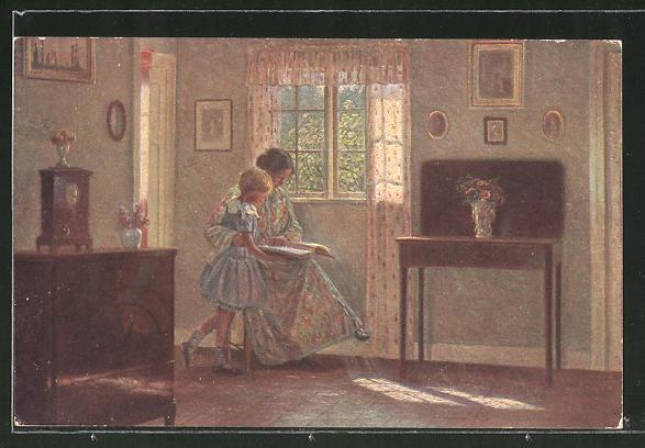 Künstler-AK sign. Alfred Broge: Mutter liest ihrer Tochter aus einem Buch vor