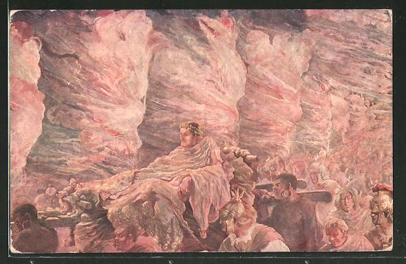 Künstler-AK A. Wuyts: Kaiser Nero wird auf der Trage getragen