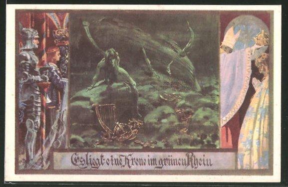 Künstler-AK Franz Jung-Ilsenheim: Es liegt eine Krone im grünen Rhein