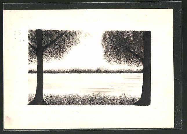 Künstler-AK Handgemalt: Silhouette zweier Bäume am Wasser