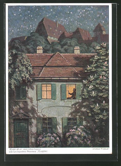Künstler-AK Walter Einbeck: Nacht ist es - nun redet lauter alle springenden Brunnen, Ortschaft mit Sternenhimmel
