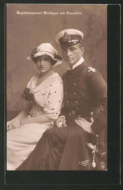 AK Kapitänleutnant Weddigen mit Gemahlin