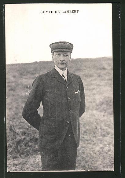 AK Comte de Lambert, Portrait des Fliegers
