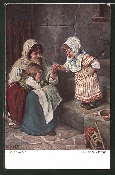 Künstler-AK Hermann Kaulbach: Der erste Sprung, Maid und Kinder