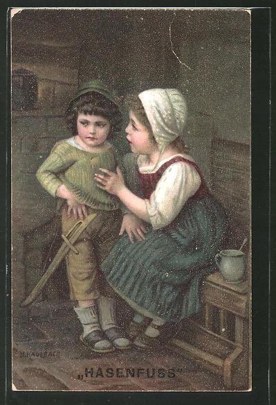 Künstler-AK Hermann Kaulbach: Hasenfuss, Kinder