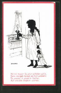 Künstler-AK sign. Zinnoris: Mädchen im Nachthemd mit Puppe, Schattenbild