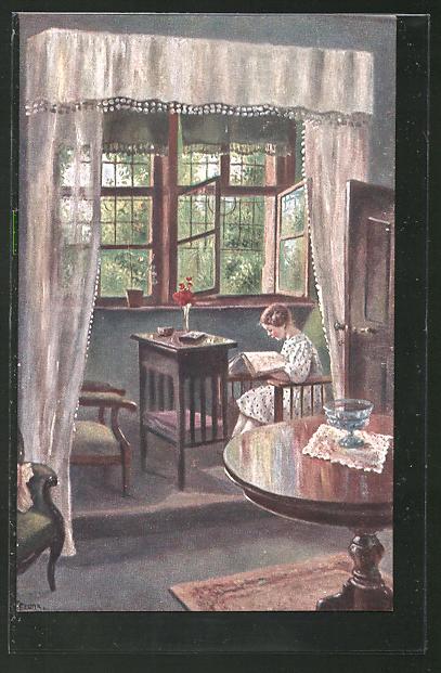 Künstler-AK Elly Frank: Das neue Buch, Mädchen liest am offenen Fenster