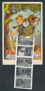 Leporello-AK Bernau, Mädchen mit Rucksack und Gitarre, Ortsansicht gegen Hochgern, Schloss Herrenchiemsee