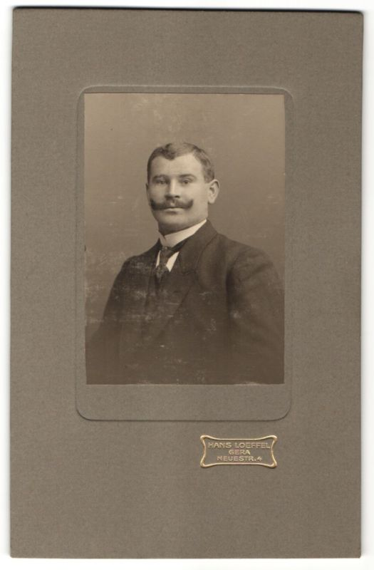Fotografie Hans Loeffel, Gera, Portrait Edelmann mit Bart trägt Anzug & Krawatte