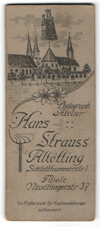 Fotografie Hans Strauss, Altötting, Ansicht Altötting, Kloster & Wallfahrtskirche, rückseitig Portrait junge Dame
