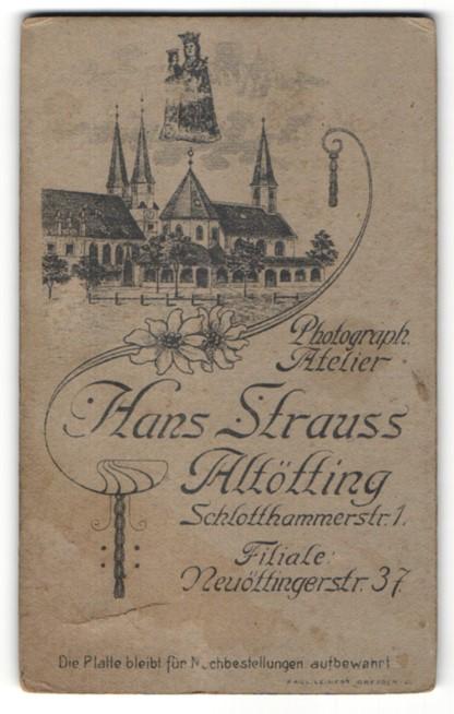Fotografie Hans Strauss, Altötting, Ansicht Altötting, Kloster & Wallfahrtskirche, rückseitig Portrait