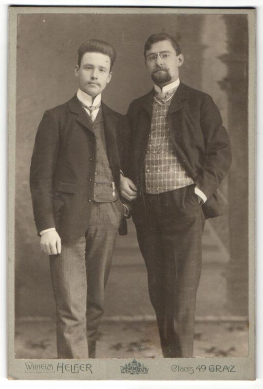 Fotografie Wilhelm Helfer, Graz, Portrait zwei bürgerliche Herren