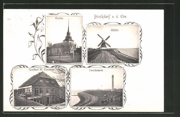 AK Brokdorf, Gasthaus, Windmühle, Kirche, Leuchtturm