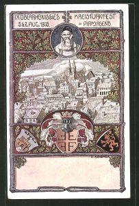 Künstler-AK Pirmasens, Ortsansicht aus der Vogelschau, IX. Oberrhein. Kreisturnfest 1905, Ganzsache Bayern PP15/C83/02