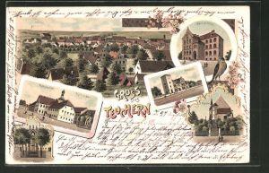 Lithographie Teuchern, Gasthof Rathskeller, Neue Schule, Bahnhof, Kirche