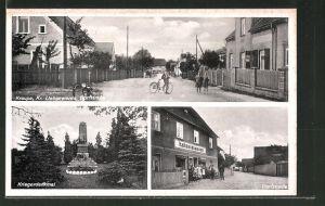 AK Kraupa, Kolonialwarenhandlung in der Dorfstrasse, Kriegerdenkmal