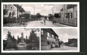 AK Kraupa, Kolonialwarenhandlung in der Dorfstrasse, Kriegerdenkmal, Kinder auf der Dorfstrasse