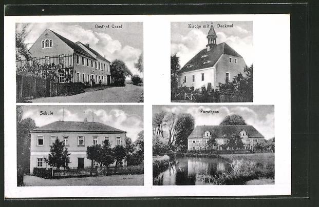 AK Cosel, Gasthof Cosel, Kirche mit Denkmal, Forsthaus, Schule