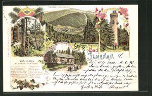 Lithographie Bad Ilmenau, Goethe als Greis, Gabelbach-Häuschen, Turm am Kickelhahn