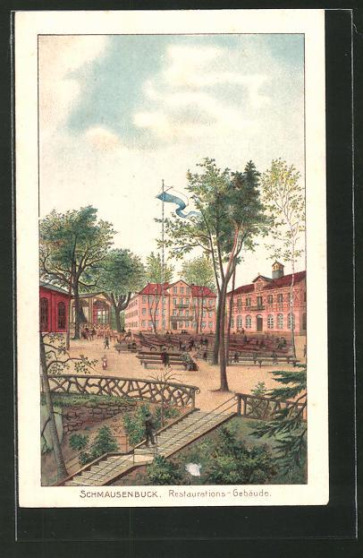 Lithographie Nürnberg, Partie am Gasthaus Schmausenbuck mit Restaurationsgebäude