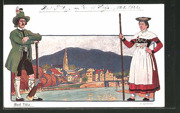 Künstler-AK Fritz Quidenus: Bad Tölz, Ortsansicht, Mann und Frau in Tracht