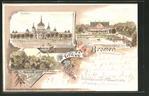 Lithographie Bremen, Parkhaus, Meierei im Bürgerpark, Wallpartie