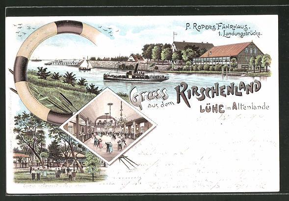 Lithographie Lühe, Gasthaus Fährhaus, Dampfer