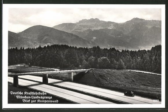 AK Deutsche Reichsautobahn München-Landesgrenze, Blick zur Kampenwand