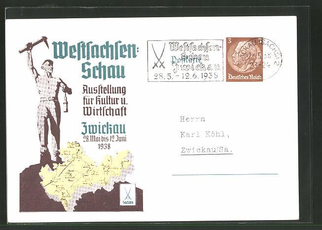 AK Zwickau, Weltsachsen-Schau Ausstellung für Kultur und Wirtschaft 28.Mai - 12. Juni 1938