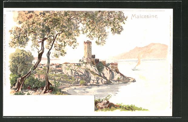 Künstler-AK Otto Strützel: Malcesine, Scaliger Burg und Blick auf den Gardasee