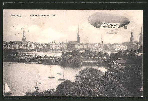 AK Hamburg, Zeppelin mit Reklame für