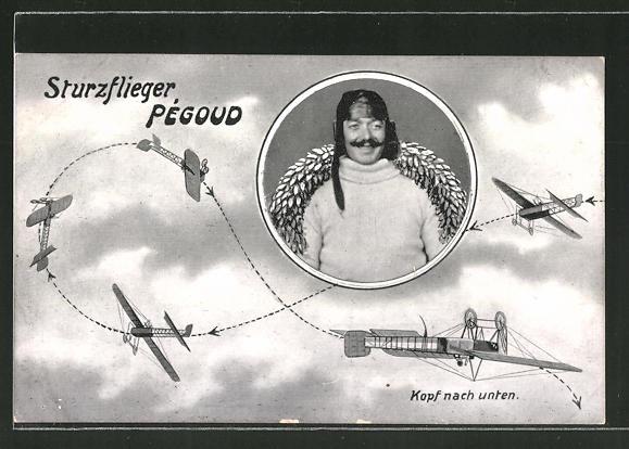 AK Sturzflieger Pégoud fliegt einen Looping in seinem Flugzeug