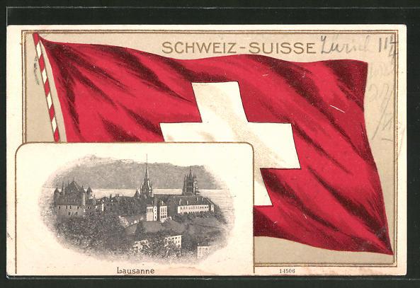 Passepartout-Lithographie Lausanne, Teilansicht der Stadt, Schweizer Fahne