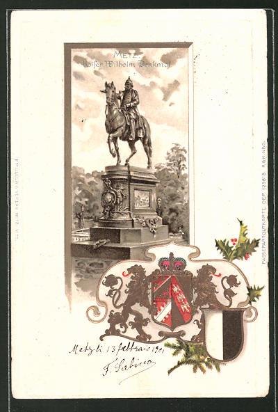 Präge-Passepartout-Lithographie Matz, Kaiser Wilhelm-Denkmal und Wappen