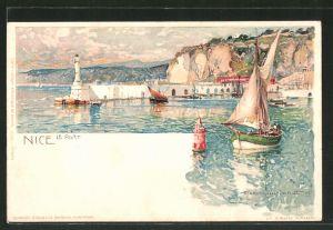 Künstler-AK Manuel Wielandt: Nice, Küstenpartie mit Leuchtturm und Segelbooten