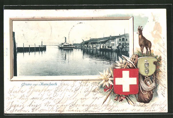 Passepartout-Lithographie Rorschach, Partie am Hafen, Gemse, Wappen