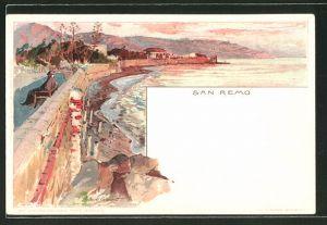 Künstler-Lithographie Manuel Wielandt: San Remo, Küstenpanorama