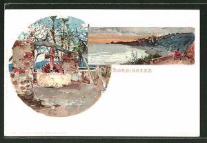 Künstler-Lithographie Manuel Wielandt: Bordighera, Brunnen, Küstenpanorama