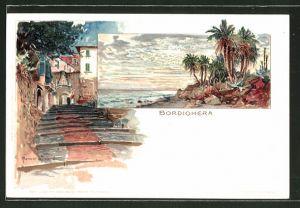 Künstler-Lithographie Manuel Wielandt: Bordighera, Küstenpartie, Ortspartie