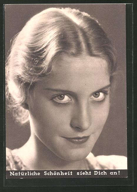 AK Portrait einer jungen Dame, Medikament Creme Mouson