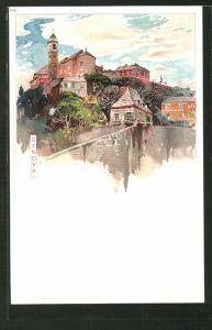 Künstler-AK Manuel Wielandt: Genova, Teilansicht aus der Vogelschau