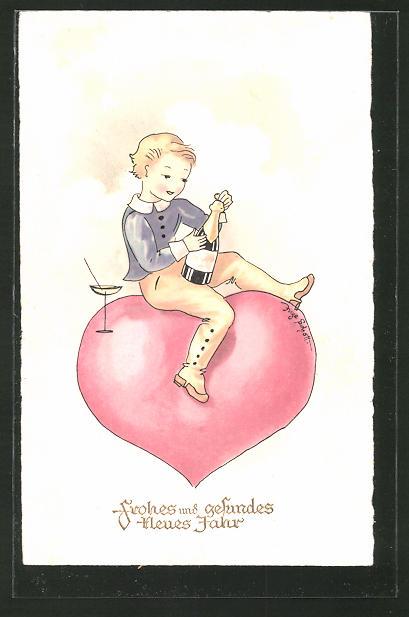 Künstler-AK Inge Schott: Frohes und gesundes neues Jahr, Kind mit Sektflasche auh Herz sitzend