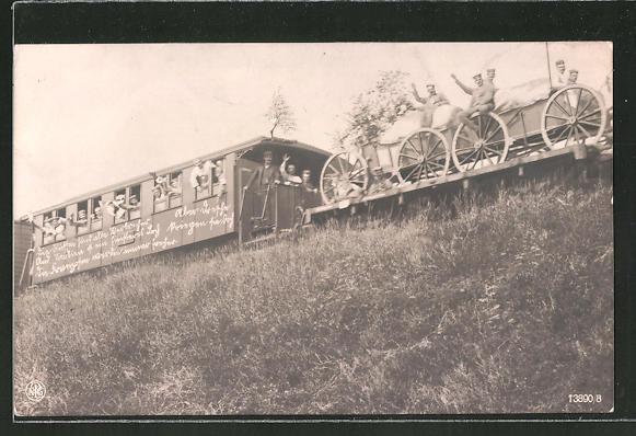 AK Soldaten und Material werden mit der Militärbahn transportiert
