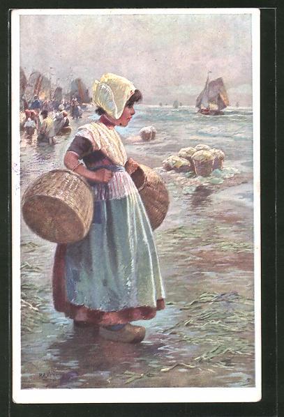Künstler-AK Rudolf Alfred Höger: Kleines Holländisches Mädchen am Strand